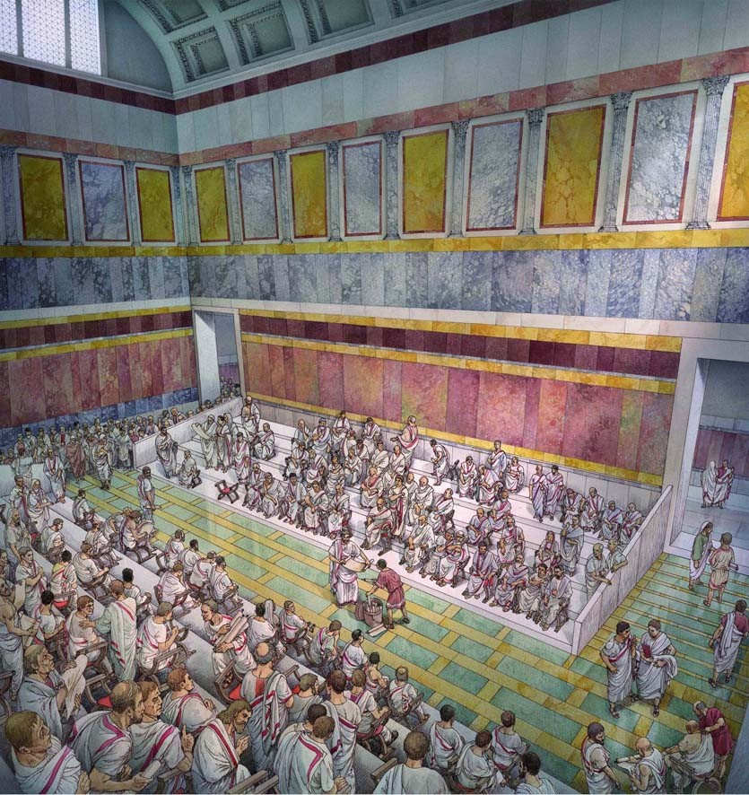 Auditoria of Adriano. Reconstructive hypothesis of the central hall.